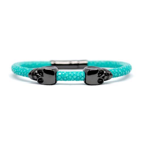 Bracelet | 2 Skulls | Turquoise/Black