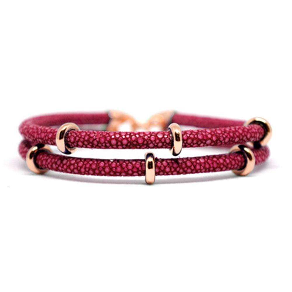 Double Stingray Bracelet | Red Wine/Rose Gold | Double Bone
