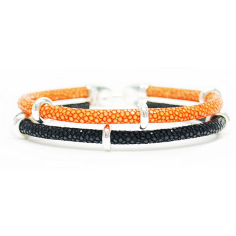 Double Stingray Bracelet | Orange/Black/Silver | Double Bone