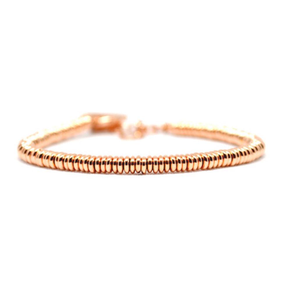 Single Beaded Bracelet | Rose Gold Beads | Double Bone