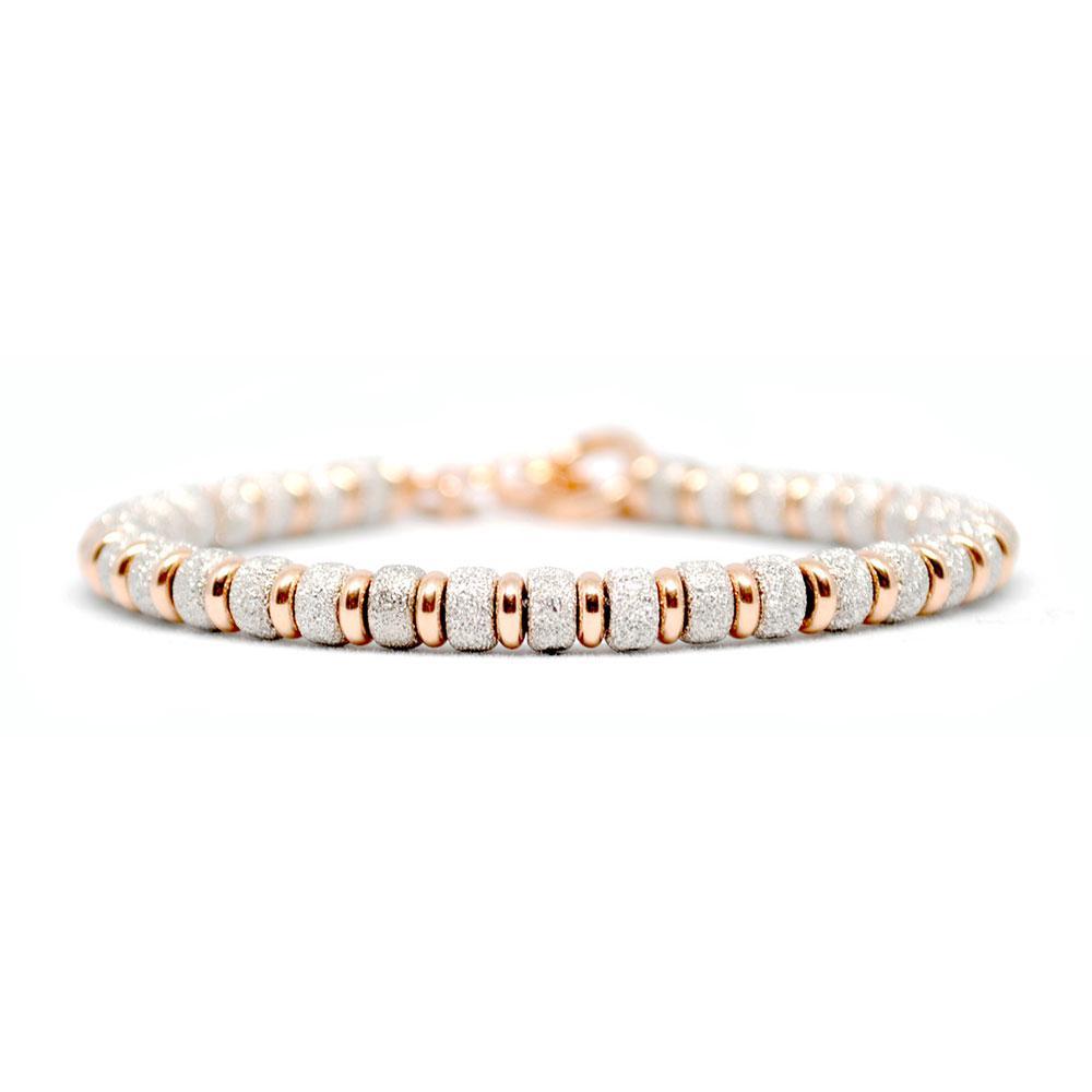 Multi Beaded Bracelet | White/Rose Gold Beads | Double Bone