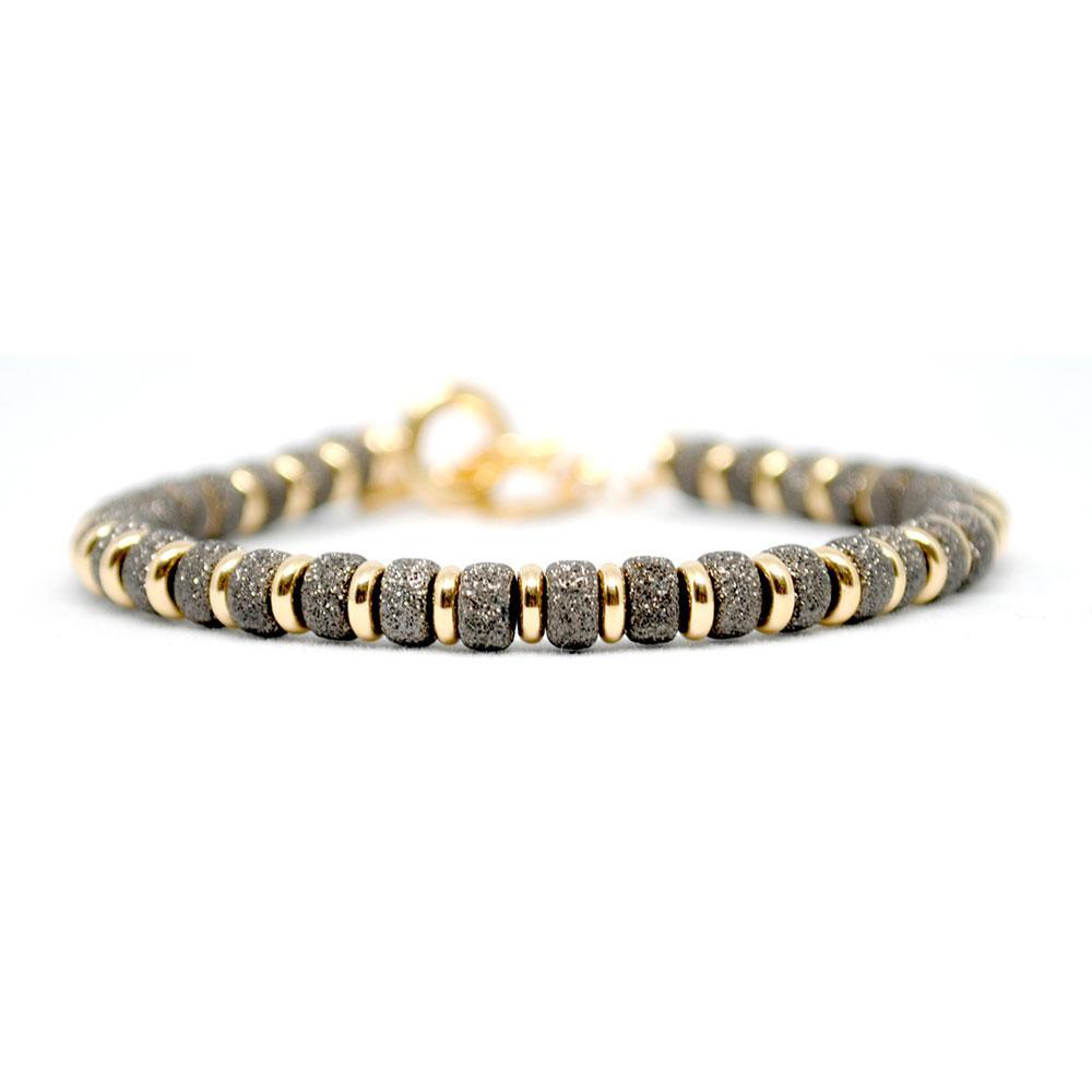 Multi Beaded Bracelet | Black & Gold Beads | Double Bone