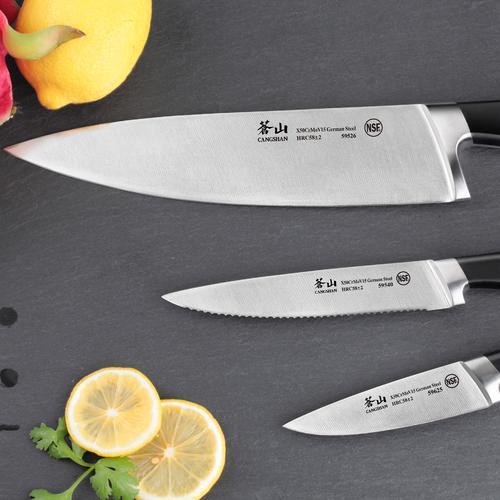 V2 Series | Set of 3 Knives | Steel/Black Handle | Cangshan