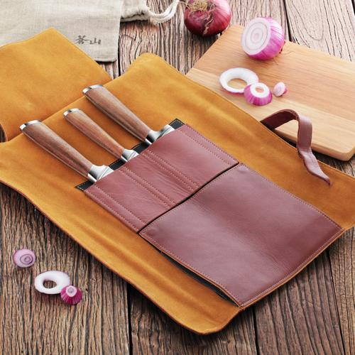 H1 Series   4-Piece Knife Set   Teak / Leather   Cangshan