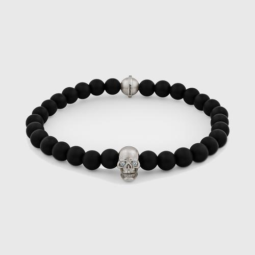 Skull Bracelet   Sterling Silver w/ Diamond Eyes