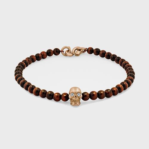 Skull Bracelet   18K Gold with Diamond Eyes