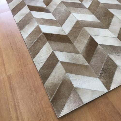 Leather Brown Ivory Rug