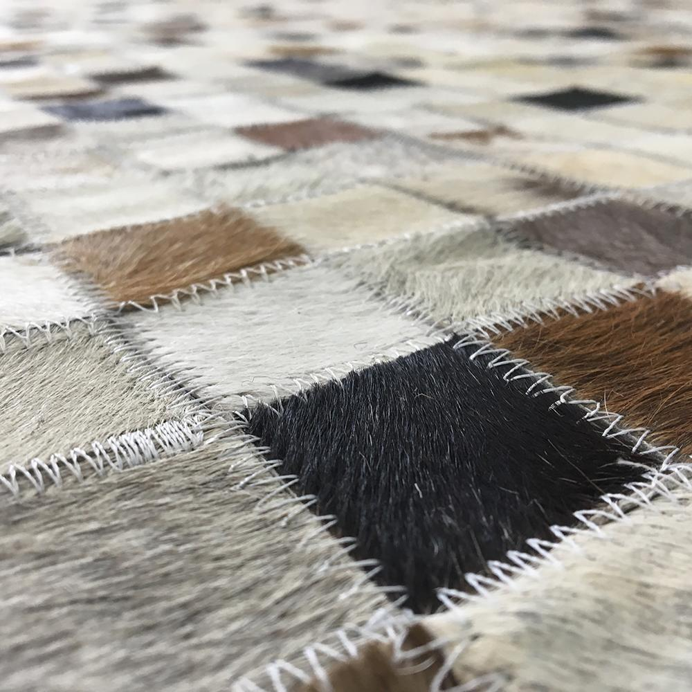 Handmade Jacquard Leather Ivory | Brown Rug | Leather Rugs