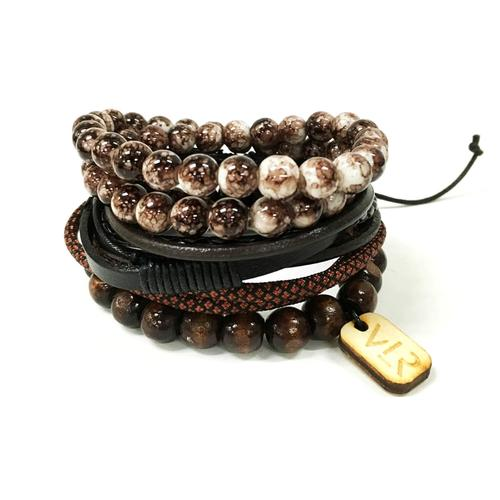 Variety Bracelet Set | Brown/White and Black