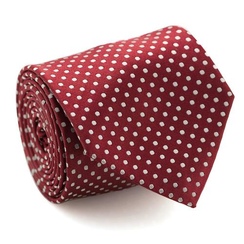 Necktie | Red Bordeaux with White Polka Dots
