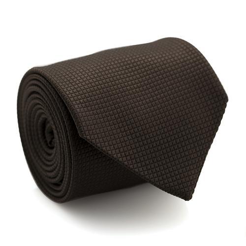 Necktie | Dark Brown with Grid Pattern