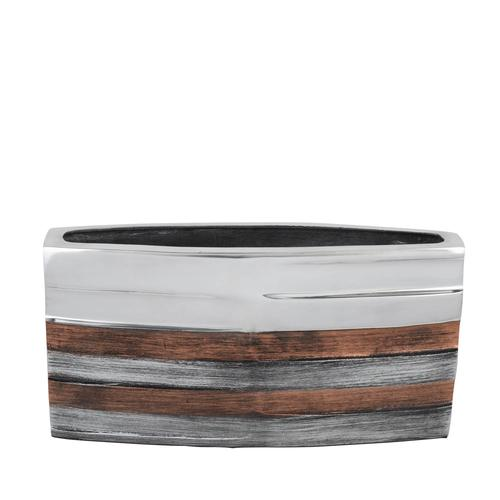 Trio- Tone Striped Rectangular Vase