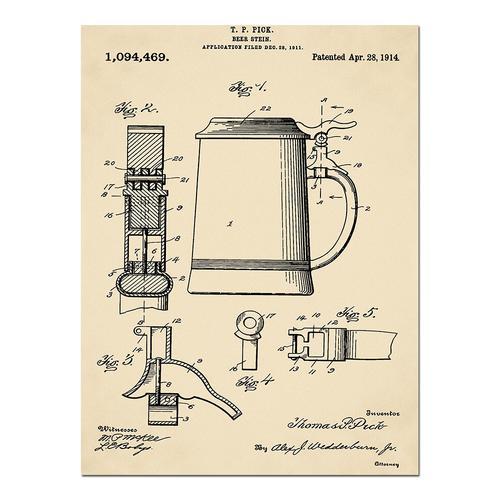 Beer Stein-1914 Sepia/Antique   Paper