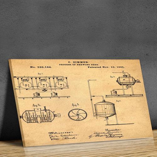 Brewing Process-1885 Sepia/Antique   Canvas