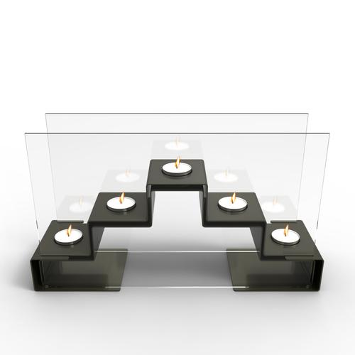 Pyramid Tea Light Holder In Gunmetal Grey