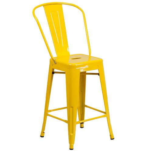24'' Indoor-Outdoor Counter Height Stool with Back