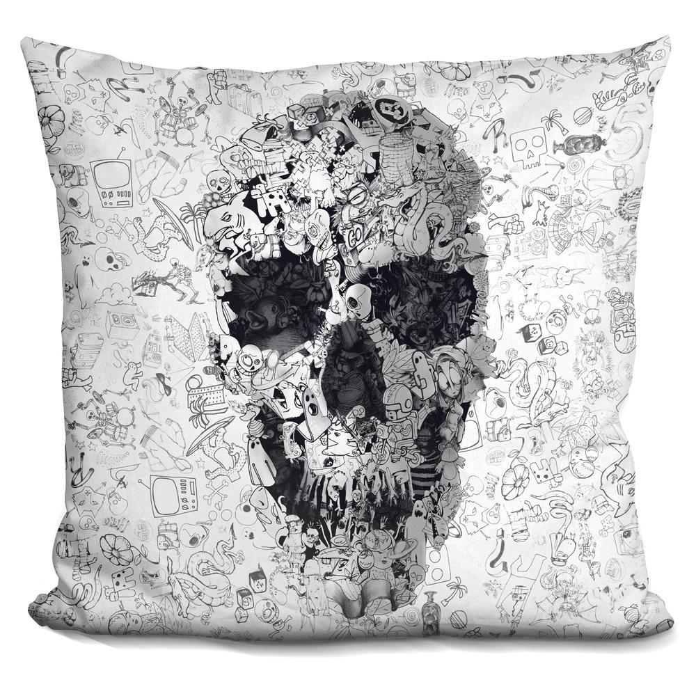 Throw Pillow Home Is Where The Doodle Is : Ali Gulec Doodle s bw Throw Pillow