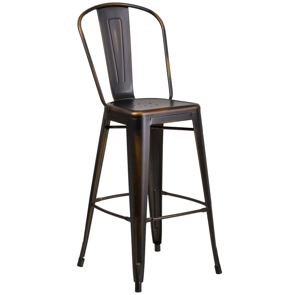 Metal Indoor Outdoor Barstool With Back Flash Furnitur