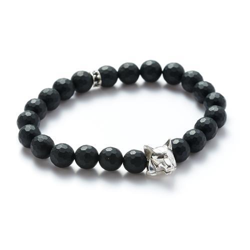 Matte Onyx/Silver Wolf Bracelet