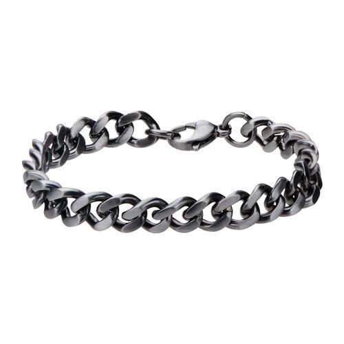 Men's Stainless Steel Gun Metal Brushed Curb Chain