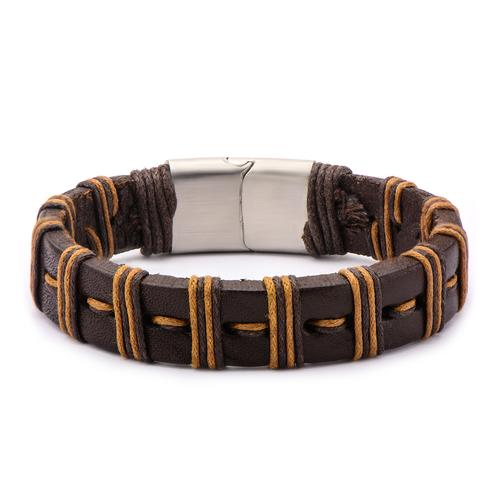 Men's Brown Stripe Threaded Leather Bracelet