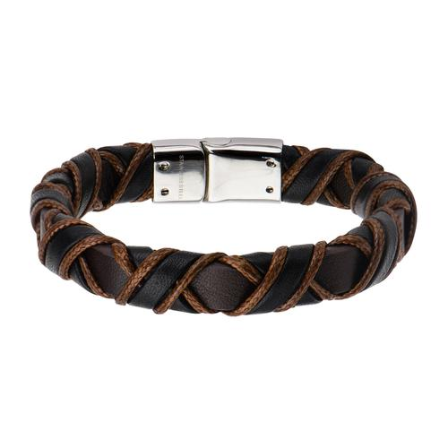 Men's Stainless Steel Clasp Leather Bracelet
