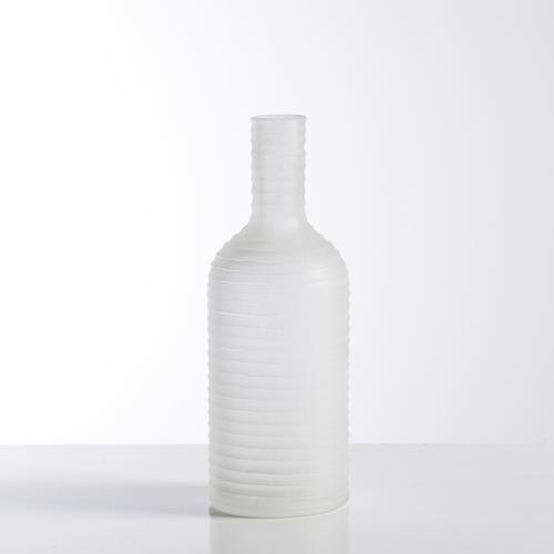 Carved Frosted Glass Bottle Vase | White