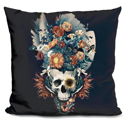 Riza Peker 'Skull and Flowers' Throw Pillow