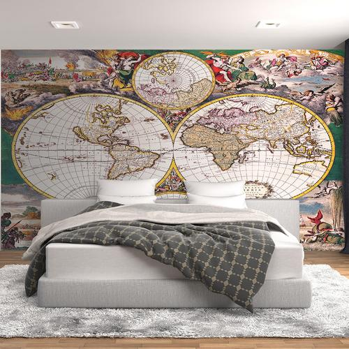 Colorful old world map wall mural for Antique world map wall mural