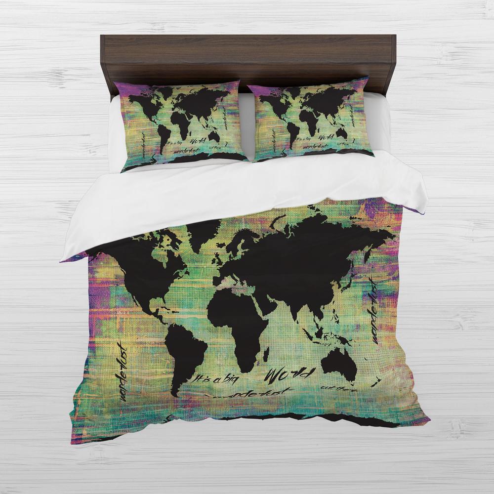 Watercolor World Map Duvet Cover Set
