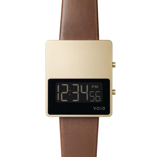 Matte Gold LCD w Light Brown leather strap   Gold buckle