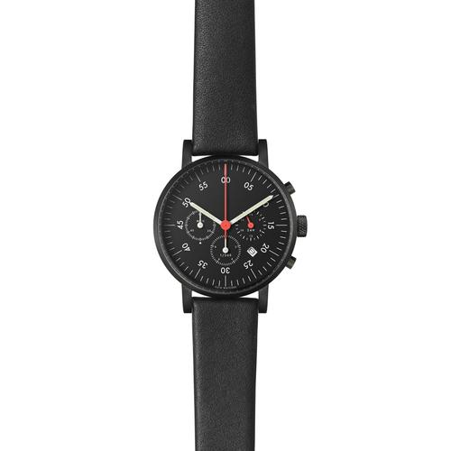 Black Round Chronograph w Black leather strap | Black dial