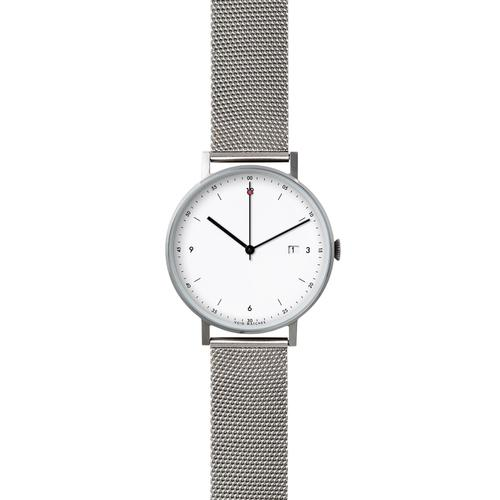 Silver Round Date | Silver Milanese Metal brecelet
