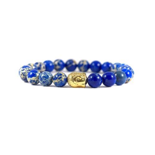 Blue Deep Sea Jasper   24kt Gold Buddha